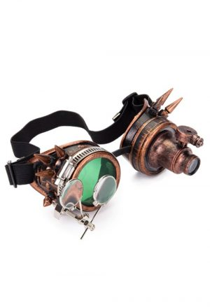 Steampunk bril goggles led lampje vergrootglas koper groen