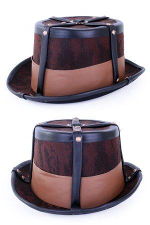 Steampunk hoed bruin nepleder