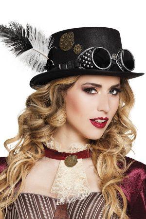 Steampunk hoed met bril en veren