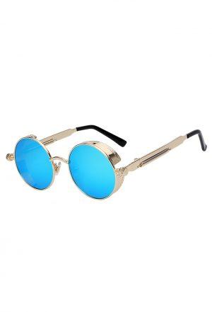 Steampunk ronde zonnebril blauw goud