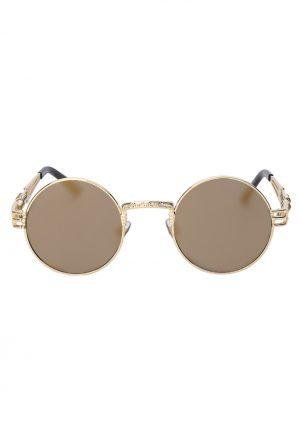 Steampunk ronde zonnebril goud spiegelglazen heren