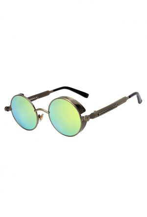 Steampunk ronde zonnebril groen brons