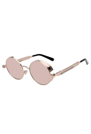 Steampunk ronde zonnebril rose goud