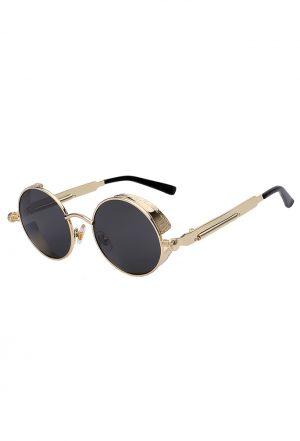Steampunk ronde zonnebril zwart goud