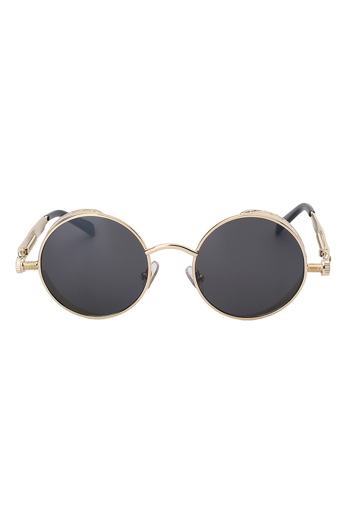 5d6fa25c932b37 Steampunk ronde zonnebril zwart goud kopen  €13