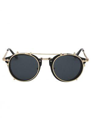 Steampunk zonnebril zwart clip on voorzet