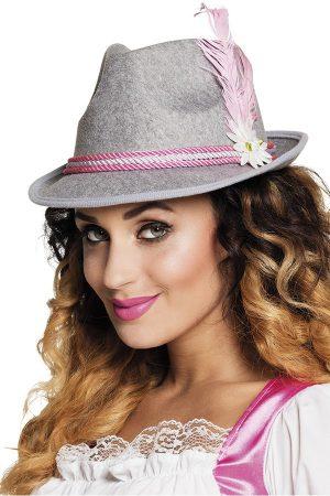 Tiroler hoed grijs roze Oktoberfest