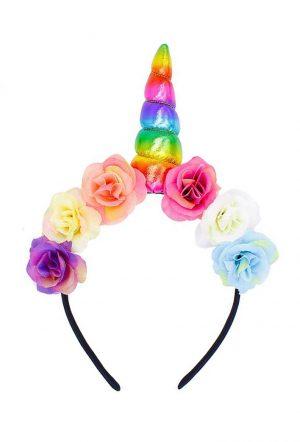 Unicorn eenhoorn haarband bloemen regenboog