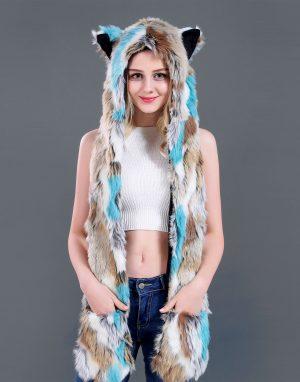 Wolf muts lapjes hood spirit blauw bruin