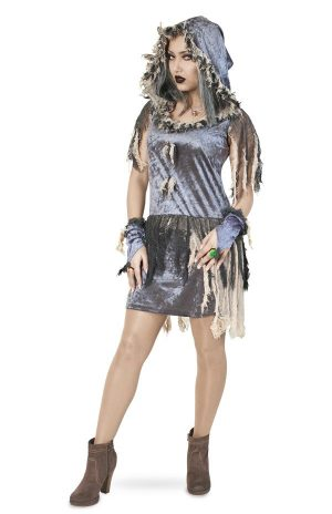 Velours zombie jurkje kostuum
