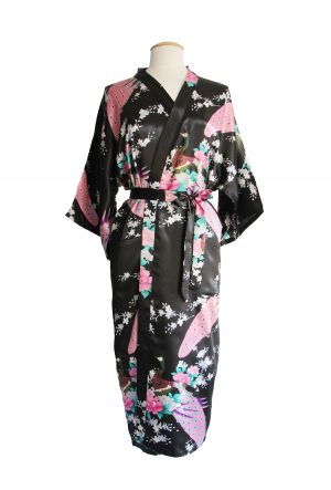 Zwarte Japanse Kimono Yukata