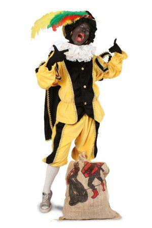Zwarte Piet kinder pak geel kostuum