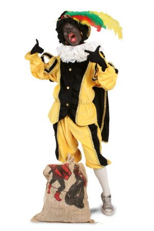 Zwarte Piet pak geel kostuum voor buiten