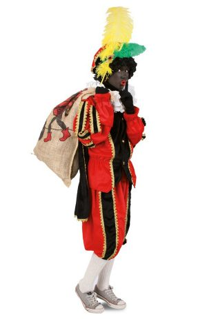 Zwarte Piet pak rood kostuum voor buiten
