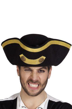 Zwarte driesteek hoed admiraal